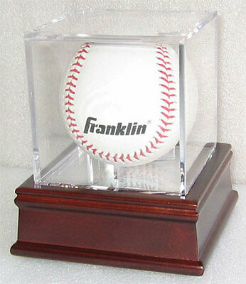 Baseball  Billiards ball Holder Display Case Cube Cherry Stand B03-CH