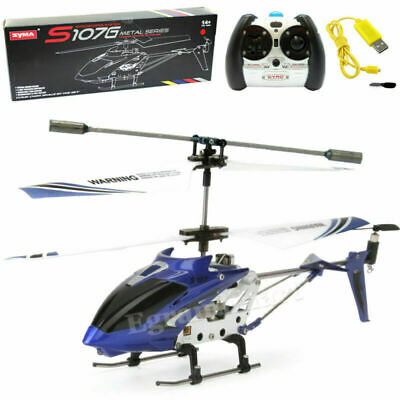 Cheerwing S107 S107G 3-5CH Alloy Mini Remote Control RC Helicopter Gyro Blue
