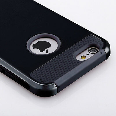 For Black iPhone 6S Case Heavy Duty Hybrid Shockproof Hard Rubber iPhone 6 Cover