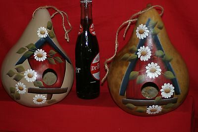 GOURDS  BIRDHOUSE GOURD BORED 1-12 READY TO HANG HAND PAINTED
