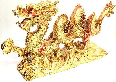 NEW LARGE GOLD Chinese Feng Shui Dragon Figurine Statue for Luck - Success