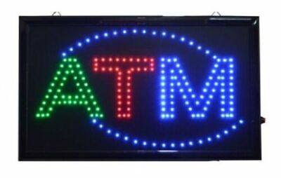 LARGE Animated LED ATM LED Neon Sign Bright Restaurant Store 21 X 13 036G