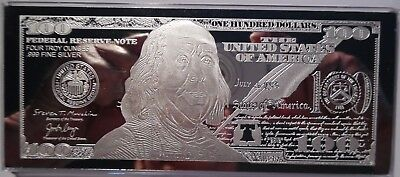 DISCOUNTED 2018 FRANKLIN 100 4 oz -999 CURRENCY SILVER BAR - COA  IMPERFECTION