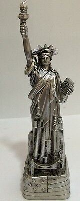 6 Silver Statue of Liberty Figurine w-Flag Base and NYC SKYLines from NYC