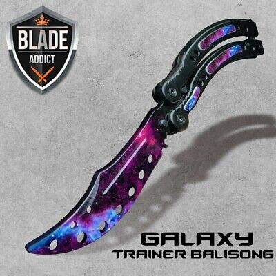 CSGO GALAXY BLACK Practice Knife Balisong Butterfly Tactical Combat Trainer NEW