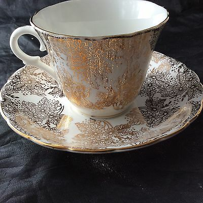Colclough Teacup - Saucer White with Gold Floral Gold Trim 1948-