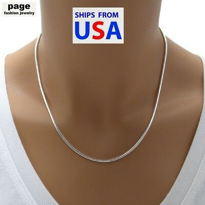 USA Seller- 925 Sterling Silver 2mm Snake Chain 18 20 24 Necklace Jewelry