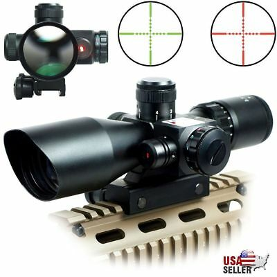 2-5-10x40 Tactical Rifle Scope Red Green Mil-dot illuminated Red Laser Mount