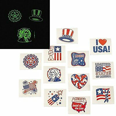 Fourth of July Patriotic Glow In The Dark Tattoos 72 Pieces