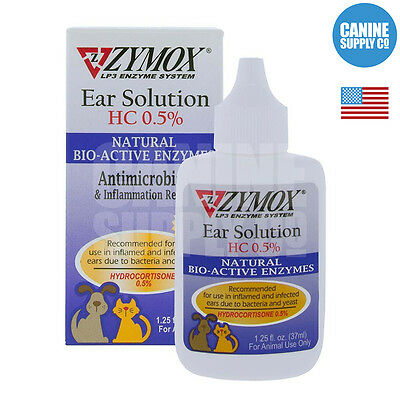 Zymox Enzymatic Ear Solution For Dogs Bacteria - Fungal - Yeast 1-25-Ounce