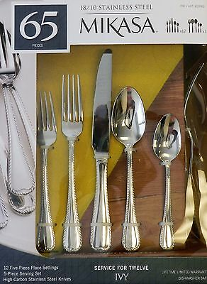 Mikasa 65pc Ivy 1810 Stainless Steel Service For 12 Flatware Set New
