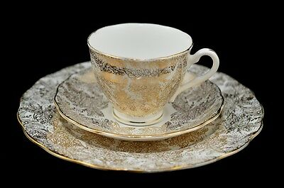 VINTAGE COLCLOUGH LONDON WHITE GOLD FLORAL PATTERN CUP SAUCER AND PLATE