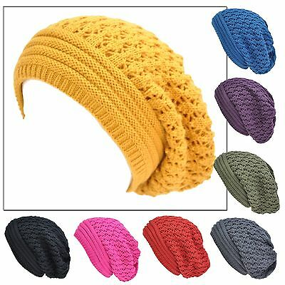 Ladies Winter Knit Double Ply Crochet Baggy Ski Slouchy Beanie Fashion Warm Hat