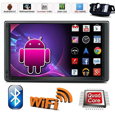 4-Core Android 3G WIFI 7Double 2 DIN Car Radio Stereo Player GPS Bluetooth-CAM