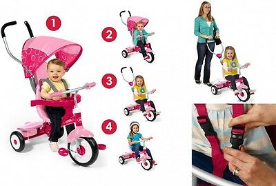 Baby Bike Stroller 4 in 1 Kid Tricycle Adjustable Child Toddler Push Ride Toy