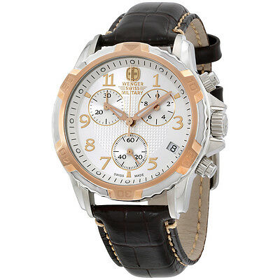 Wenger Silver Dial Brown Leather Strap Mens Watch 79131