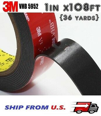 3M 1 x 108 ft VHB Double Sided Foam Adhesive Tape 5952 Automotive Mounting 24mm