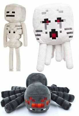 Minecraft Set of 3 - Ghast Skeleton Spider Plush Toy - FREE FAST USA SHIPPING