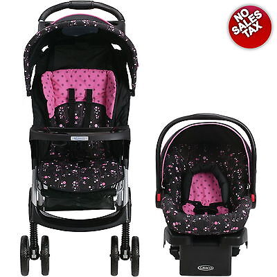Baby Stroller and Car Seat Travel System Infant Folding Graco LiteRider Girl NEW