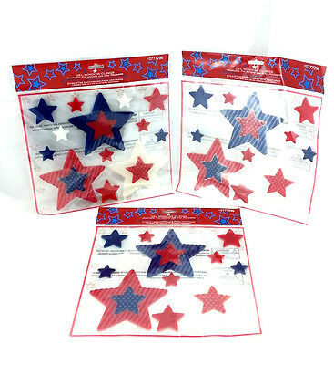 Lot of 3 4th of July USA Stars window Clings