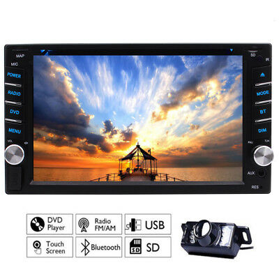 Double 2 Din 7 Car Stereo DVD CD MP3 Player HD In Dash Bluetooth Radio Camera