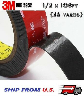 3M VHB Double Sided Foam Adhesive Tape 5952 Automotive Mounting 12 x 108 FT