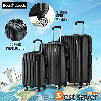 New ABS 3pcs Travel Luggage Set Hardside Spinner Rolling Trolley Suitcases Black
