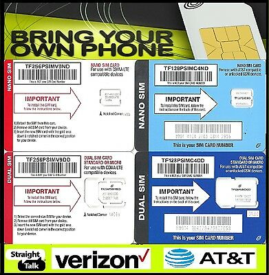 Straight Talk AT-T Verizon Sim Card Activation Kit Bring Your Own Phone 4G LTE