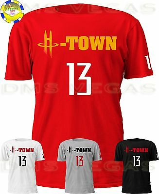 Houston Rockets James Harden H-Town 13 Jersey Tee Shirt Men Size S-5XL