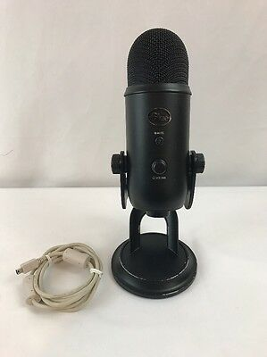 Blue Yeti Condenser Wired Professional Microphone Black w USB cable