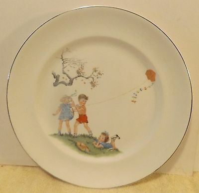 Vintage DERWOOD WS GEORGE 8 Plate featuring Children Flying a Kite