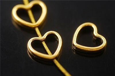 30pcs Golden Heart-Shaped Beads Spacer Jewelry Charms Findings 11x12-5mm New