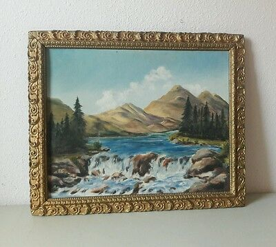 ANTIQUE LANDSCAPE OIL PAINTING ON BOARD IN GOLD GILDED WOOD GESSO FRAME