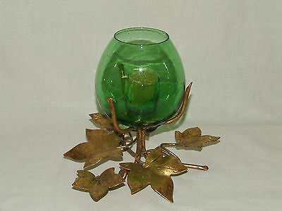Vintage Gold Metal Leaf Candleholder w Hand Blown Green Glass Made in Italy Tag
