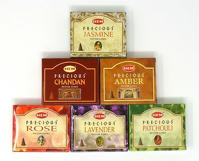 Hem Precious Assortment Variety Incense Cones 6 Assorted Scents 60 Cone Total