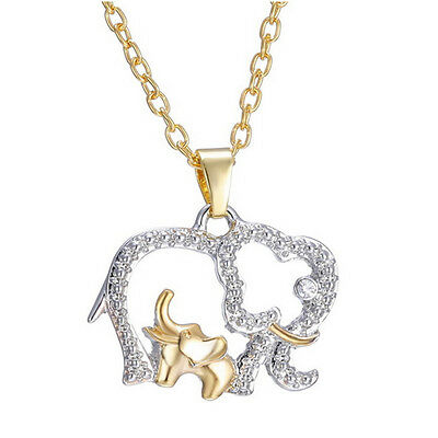 1PC Mothers Day Crystal Elephant Pendant Necklace Chain Charm Gift for her Mom