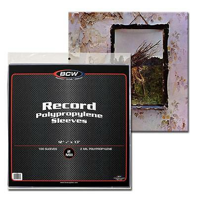 100x BCW 33 13 RPM 2 Mil Outer Sleeves Archival Poly Bags for Record Albums