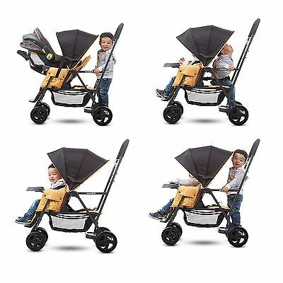 Sit And Stand Stroller Infant - Toddler Double Kids Tandem with Car Seat Adapter