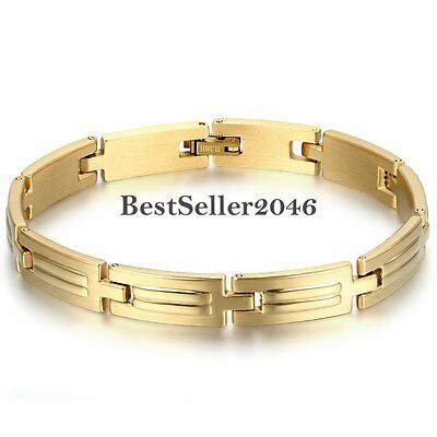 Gold Tone Stainless Steel Link Chain Bangle Mens Womens Fashion Bracelet Gift