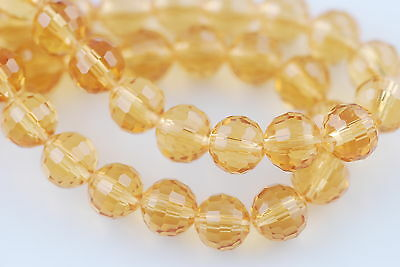 50pcs Gold Champagne Glass Crystal 96Faceted Round Beads 8mm Spacer Findings