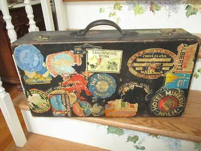ANTIQUE LEATHER SUITCASE REAL TRAVEL DECAL LUGGAGE STICKERS HOTEL STEAMSHIP