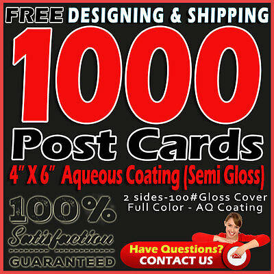 1000 Postcards Printing 4x6 Full Color 2 Sides Aqueous Coating-Free Designing