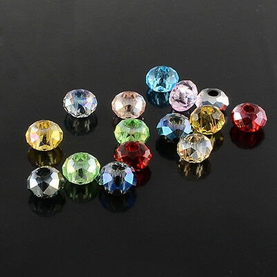 DIY Jewelry Faceted 100pcs Rondle Glass Crystal Beads Spacer Findings 8x5mm