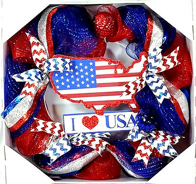 22-in Patriotic Artificial Fourth of July Wreath I Love USA