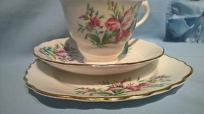 VINT COLCLOUGH LONGTON UK GILDED BONE CHINA RED IRIS CUP SAUCER PLATE TRIO 6614