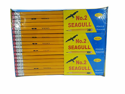 Pencils Pre-sharpened No- 2 144box 12 Boxes of 12 New Improved Eraser New