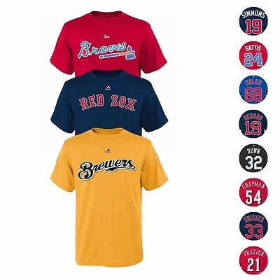 MLB Majestic Player Name - Number Jersey T-Shirt Collection Youth Size 8-20