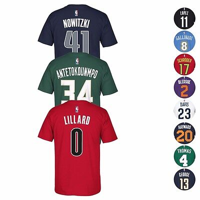 2016-17 NBA Adidas Official Player Name - Number Jersey T-Shirt Collection Mens