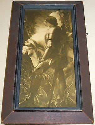 Vintage Print of KNIGHT with WHITE HORSE Old Wood Frame