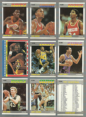 1987 FLEER BASKETBALL LOT OF 51 DIFFERENT NM EVERY CARD SCANNED WSTARS AND RC